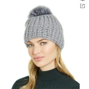 Surell Chunky Knit Beanie with Fox Fur Pom Grey